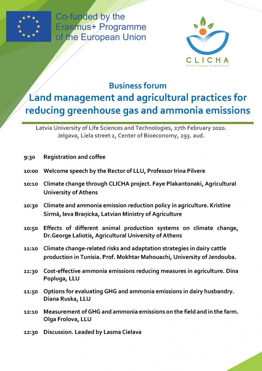 CLICHA Business forum Agenda, 27.2.20